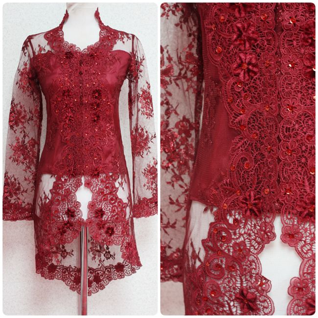 "Kebaya Lace Trisya is available in XXXS, XXS and XS size (bust 28"", 30"" and 32""). Visit empireofelegance.com.my to purchase."