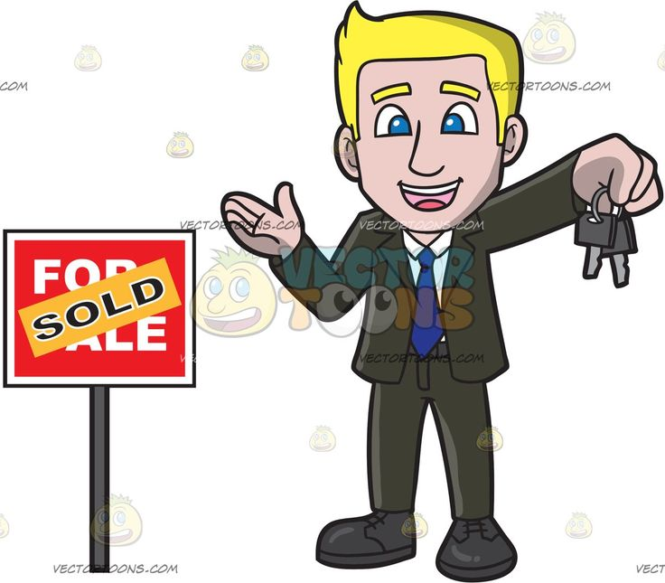 A Male Real Estate Agent Closing A Deal To Sell A House:   A man with blonde hair wearing a black suit white dress shirt blue necktie black shoes smiles while holding two keys in his left hand as he stands beside a red for sale sign that has an orange sold sticker plastered on it