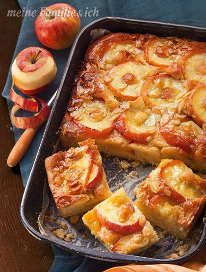 Der Star jeder Kaffeetafel: saftiger Rührkuchen mit Apfelscheiben und Mandelkruste.