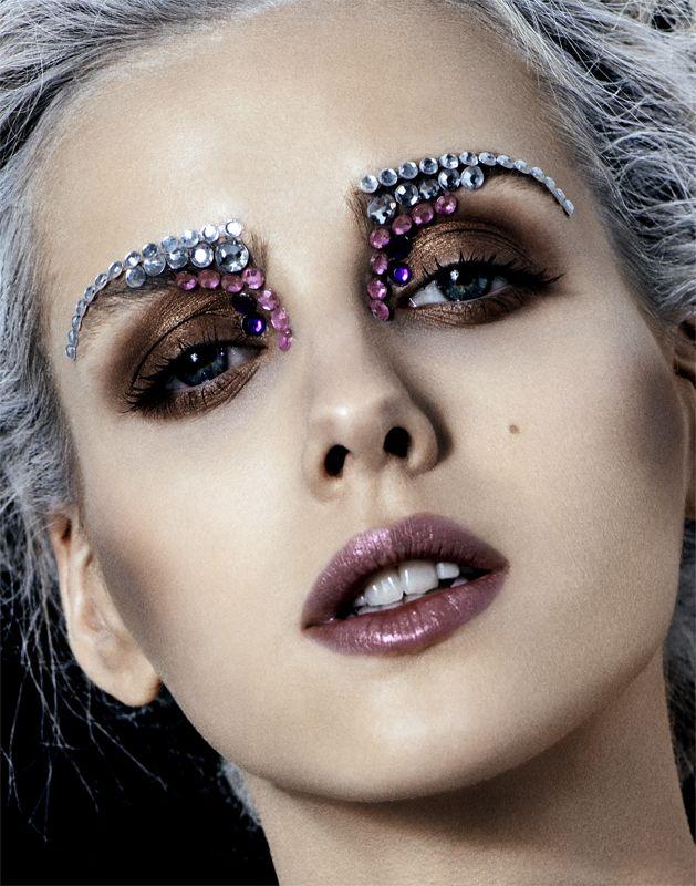 fashion beauty shoot diamond eyebrows brown makeup