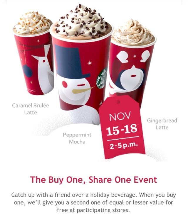 Starbucks bogo promo ends tomorrow, Nov. 18th Starbucks
