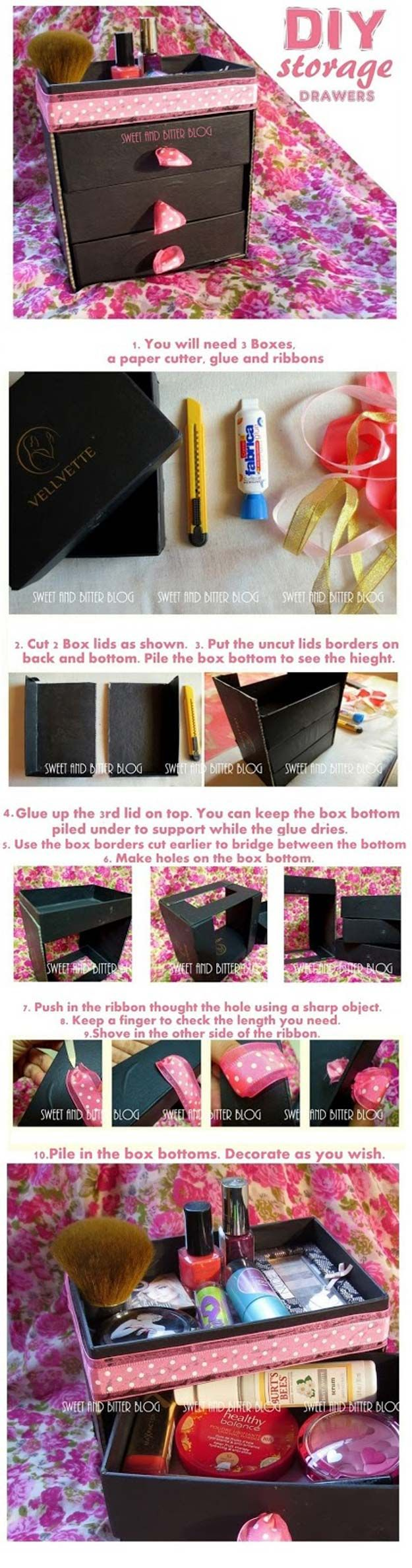 DIY Makeup Storage and Organizing - Stylish Beauty Box Makeup Organizer - Awesome Ideas and Dollar Stores Hacks for Some Seriously Great Organizers For Small Spaces - Box and Vanity Ideas as well as Easy Ideas for Jars and Drawers, Cheap Wall Shoebox Containers and Quick Holders with Cardboard - thegoddess.com/DIY-Makeup-Storage