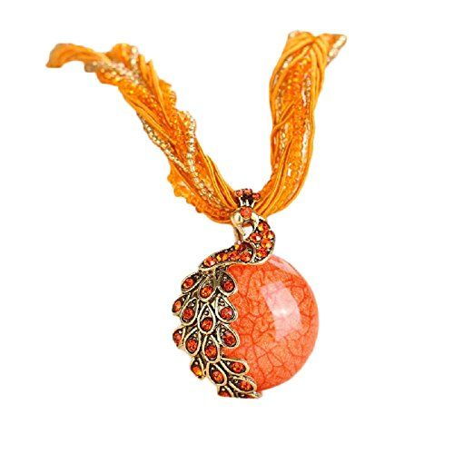Doinshop Luxury Womens Bohemian Rhinestone Necklace Peacock Gem Pendant Statement orange
