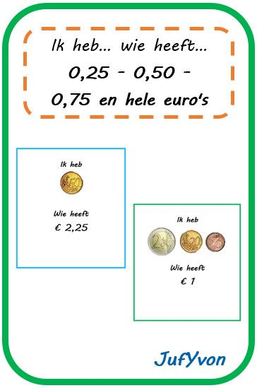 JufYvon: ik heb, wie heeft...? - geld (0,25 - 0,50 - 0,75 en hele euro's)