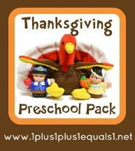 Free Thanksgiving Preschool Pack from 1+1+1=1 #preschool #homeschool