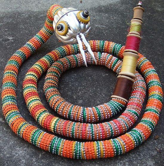 Bottle cap art art from bottle caps bottlecap snake for Bottle cap designs