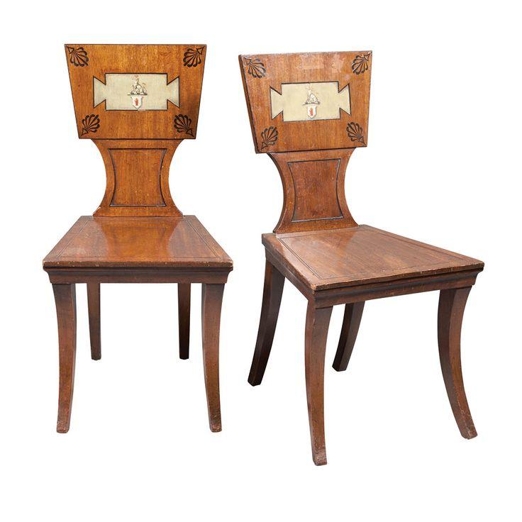 Pair of Late Regency Painted Mahogany Hall Chairs - 121 Best Hall Chairs Images On Pinterest Hall Chairs, 19th Century