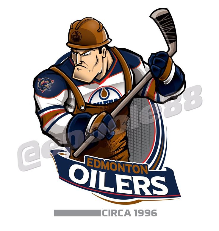 An oil rigger with the 1996 Edmonton Oilers jersey.