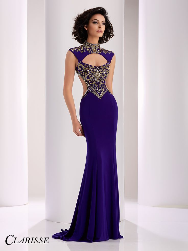 Clarisse Purple and Gold Cutout Prom Dress 4834. Elegant and sexy sparkly open back prom dress. | Promgirl.net
