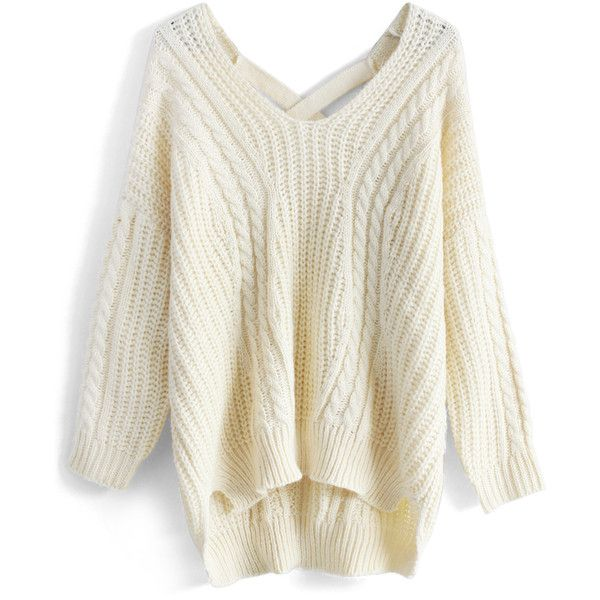 Chicwish Sunny Afternoon V-neck Sweater in Cream ($53) ❤ liked on Polyvore featuring tops, sweaters, shirts, jackets, white, white v neck top, vneck shirts, white shirt, white sweater and cream shirt