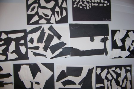 Greatest Resource Edu-Care Preschool - Black and white collages - Babies are drawn to the sharp contrast in the two colors.