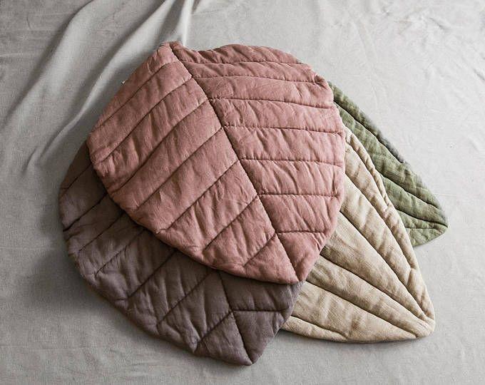 Linen leaf mat linen blanket play mat linen leaf linen duvet linen quilted blanket nursery mat padded pillow luxurious
