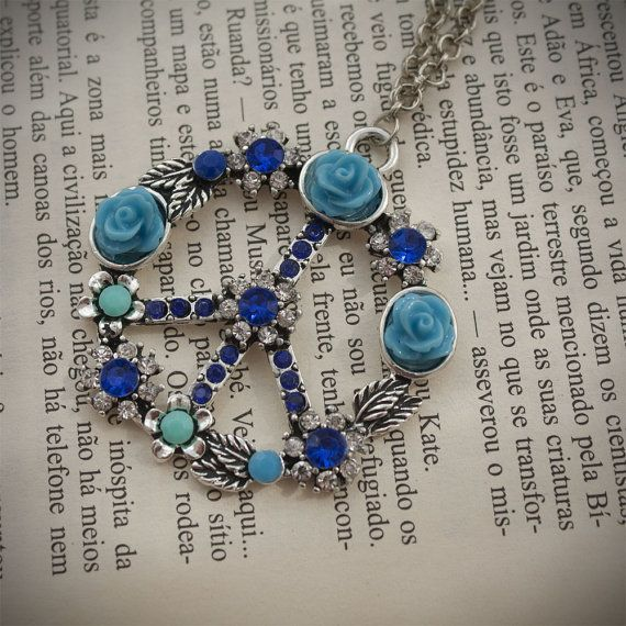 Silver Tone and Blue Peace Symbol with Rhinestones by HandmadeBiju #Womannecklace #peacenecklace #peacesymbol #silvertonenecklace #Chainnecklace #Jewelry #Handmadejewelry #Handmadenecklace #Handmadegift #Necklace