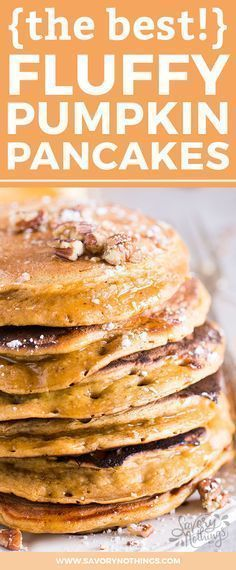 You know what fall is all about, right? Pumpkin of course! It's time to serve your family some homemade fluffy pumpkin pancakes for breakfast and enjoy them raving about your cooking skills for the rest of the day. No need to tell them how easy this pancake recipe is to make ;) The simple batter is made from scratch with flour, milk, eggs, oil, pumpkin spice and an entire cup of pumpkin puree. They are quick to whip up and you can serve them with any topping you like. #PumpkinCakeRecipe