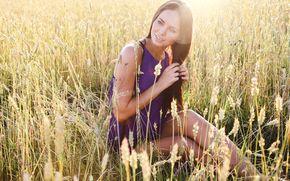 Картинка Девушка, поле, колоски, поза