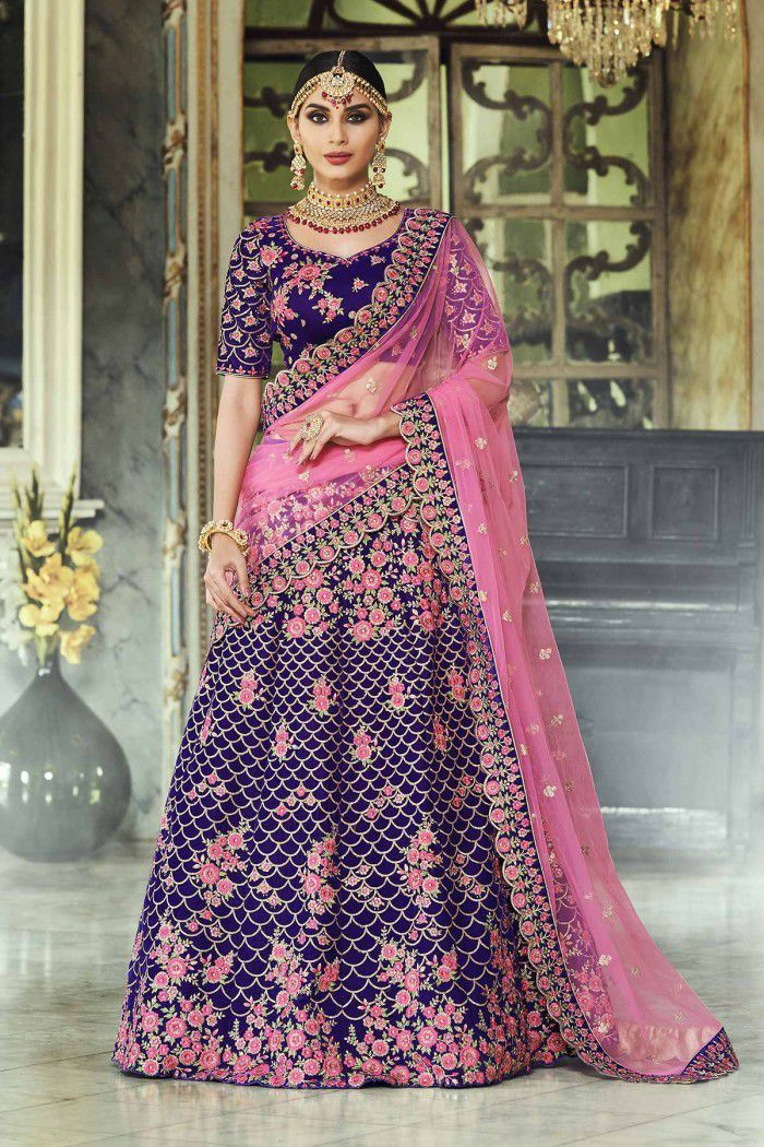 3a37bb259a Buy Purple and pink velvet Indian wedding lehenga in UK, USA and Canada