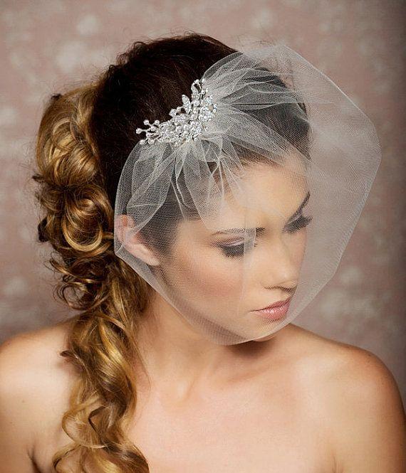 Rhinestone Veil, Crystal Veil, Wedding Veil, Rhinestone Comb, Blusher Veil, Tulle Veil, Bridal Veil - Made to Order - SYLVIA