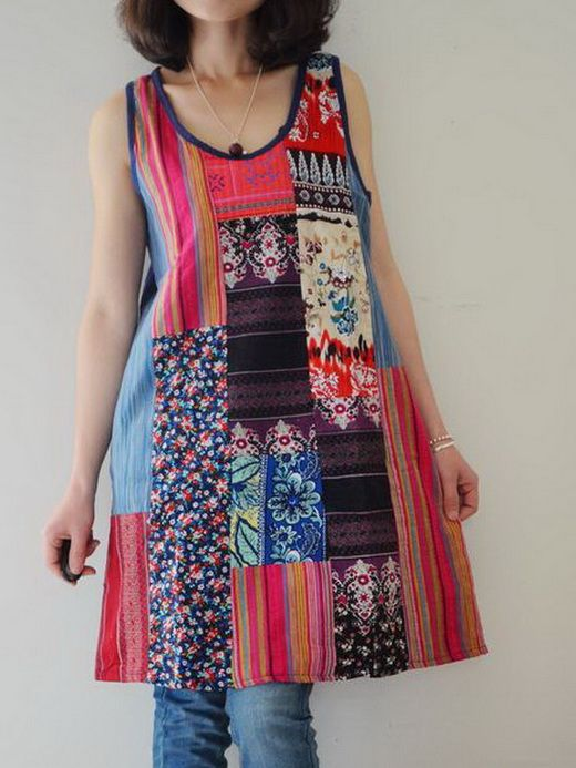 Muli Colors Patchwork Dress
