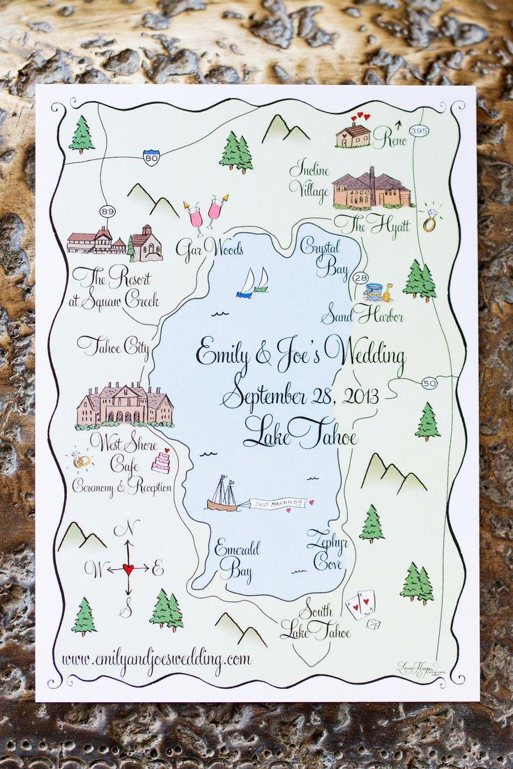 Lake Tahoe wedding map. Paper Moon. Photography: Jonathan Young - jyweddings.com
