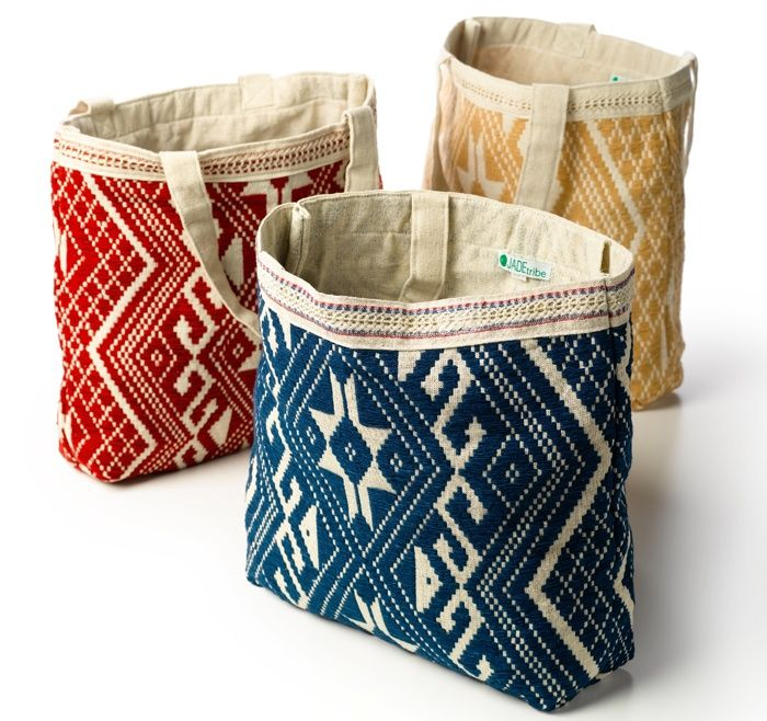 idea - top row of jute or other - handmade bags