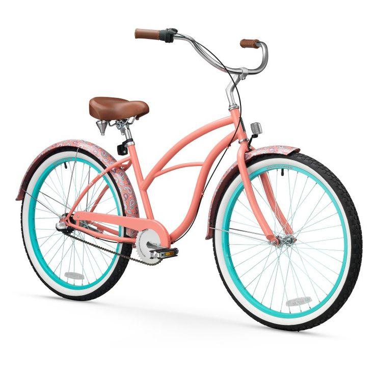 Sixthreezero 26 in. Ladies Paisley 3 Speed Beach Cruiser Bicycle - Coral Pink - 630037
