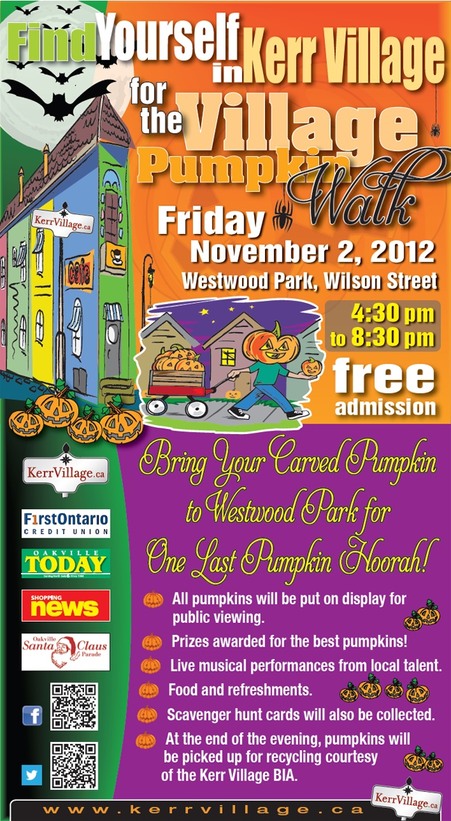 Kerr Village Pumpkin Walk 4:30pm to 8:30pm -Bring your pumpkins to enter the carving contest. Fun for all!