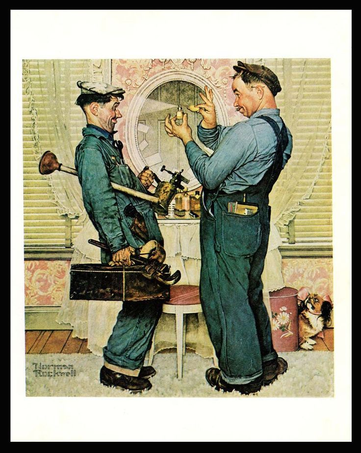 "Norman Rockwell 1978 Occupational Art Print ""The Plumbers"" Plumbers Having Fun!"
