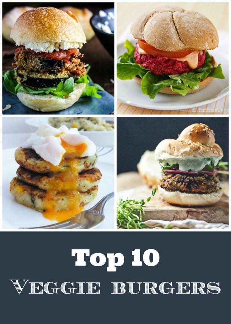 10 of the best veggie burgers around. Homemade burgers are just so good!  #veggieburgers #veggie #vegetarian