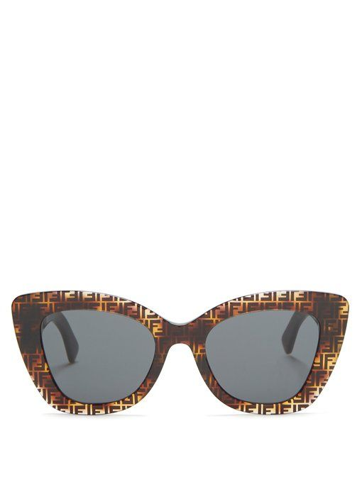 ee6bb403bc FENDI FENDI - FF ACETATE CAT EYE SUNGLASSES - WOMENS - BROWN MULTI.  fendi