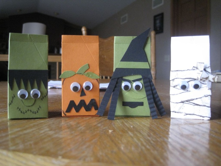 used stampin up mini milk carton decorated the front of each one and then put - Halloween Cartons