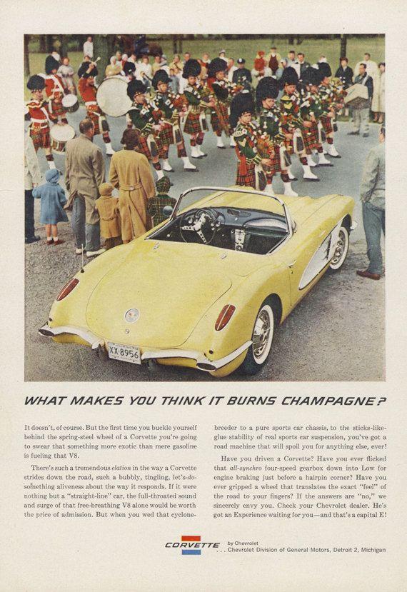 1959 Chevrolette Corvette Ad Yellow Convertible Parade Photo Vintage Chevy Car Advertisement Print Retro Wall Art