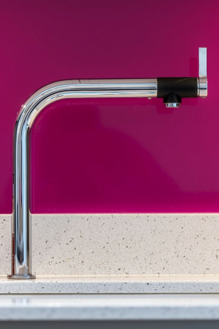 "This beautiful Blanco tap ""Vonda"" is one of our favourite taps. The purple splash back in the background makes this an outstanding image"