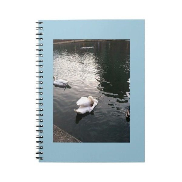 swans swimming on the front of this notebook ($13) ❤ liked on Polyvore featuring home, home decor and stationery