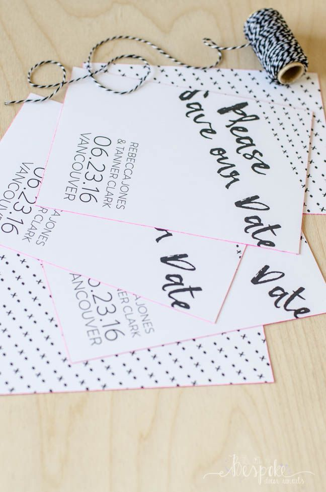 DIY Neon Edged Save the Dates- with a free customizable printable!