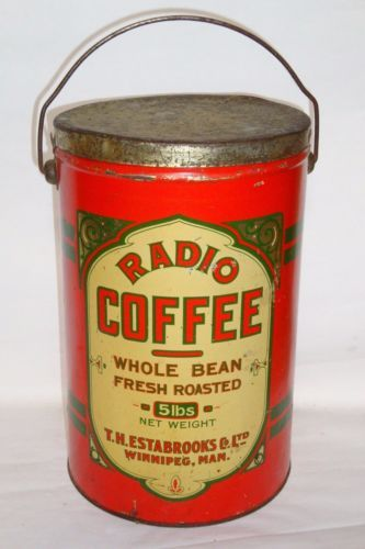 Nice-Old-Tin-Litho-Bail-Handle-Lunch-Pail-5-Lb-Radio-Advertising-Coffee-Tin-Can