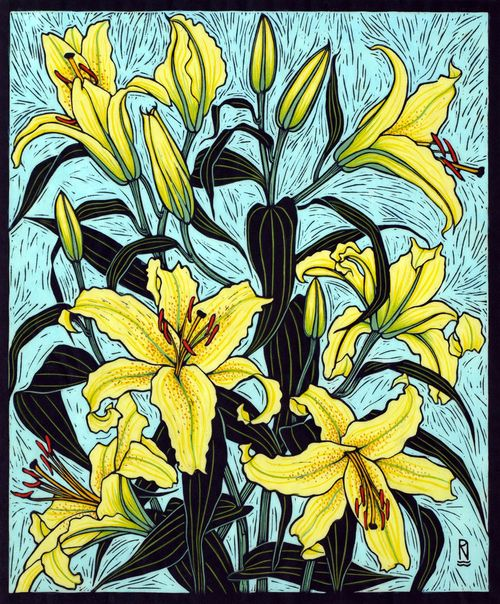 Oriental Lily II28 x 22 cm  Edition of 50Hand coloured linocut on  handmade Japanese paper.  Rachel Newling.
