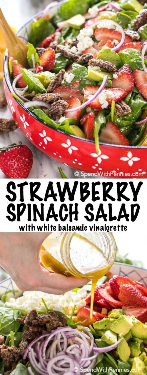 I've made this SO many times this week!  It's the best! Strawberry Spinach Salad is a crowd pleaser!  This recipe starts with a bed of fresh spinach and ripe juicy summer strawberries topped with creamy avocado, cheese, thinly sliced onions and some deliciously sweet candied pecans.  Toss this salad with the quick and easy homemade white balsamic dressing below or your favorite store bought balsamic vinaigrette for the perfect summer meal.