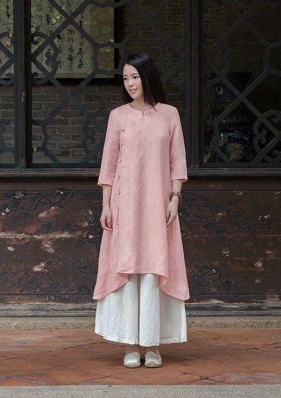 Pink Linen dress Cotton Maxi dress Casual loose Kaftan by Luckywu