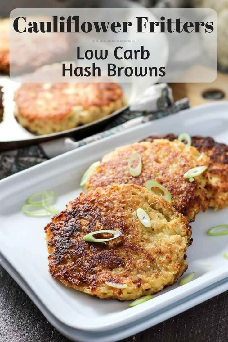 Cauliflower Fritters make a great low carb side, or snack. They also make the best low carb hash browns! This kid friendly recipe is keto friendly, low carb, gluten free and vegetarian. (Baking Cauliflower Fritters)