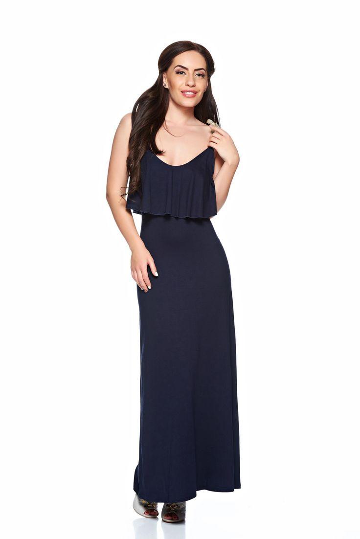 MissQ Mannequin DarkBlue Dress, ruffle bust dress, with straps, elastic fabric