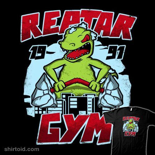 Reptar Gym   Shirtoid #dinosaur #film #gym #movies #reptar #rugrats #soulkr #tvshow #weightlifting