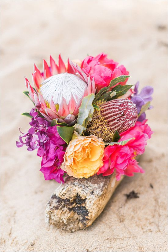 tropical wedding bouquet in hot pink and purple