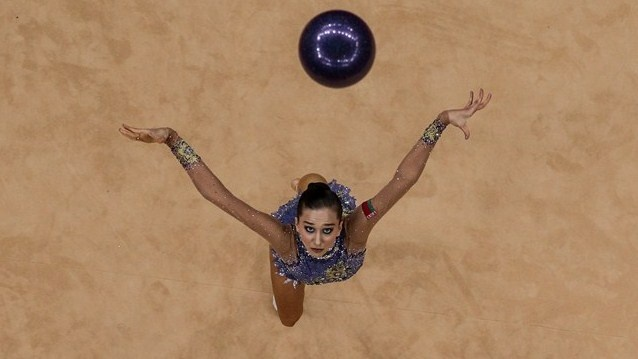 Liubou Charkashyna of Belarus competes in the Individual All-Around Rhythmic Gymnastics on Day 13 of the London 2012 Olympics Games at Wembley Arena