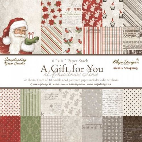 """MAJA DESIGN - A GIFT FOR YOU 713 - PAPER STACK 6X6 Papirblokk med 36 dobbeltsidig mønsterpapir i serien A GIFT FOR YOU fra MAJA DESIGN. Måler ca 15.2x15,2 cm eller 6""""x6"""". Double-sided - patterned - heavyweight paper - acid & lignin free.Includes 36 sheets 6 x 6 paper - 2 each of 18 assorted designs. Inspirasjon laget av DTJill After I put my hands on the newMaja DesignpapersA Gift For You.I can't stop ..."""