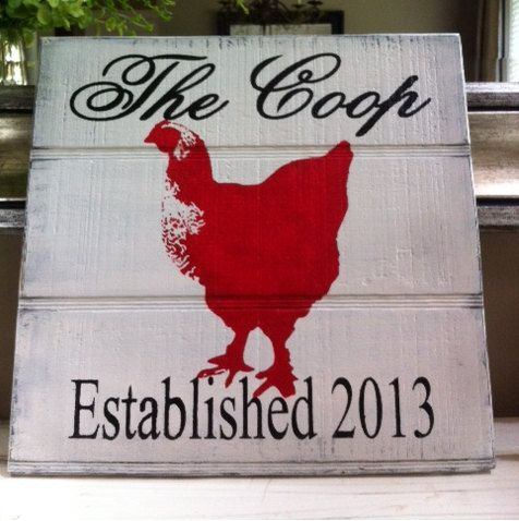 Chicken Coop Sign Decor Rooster or Hen Vintage Personalized Wood Shabby Chic Cottage French Provincial Farmhouse Rustic Red Black White
