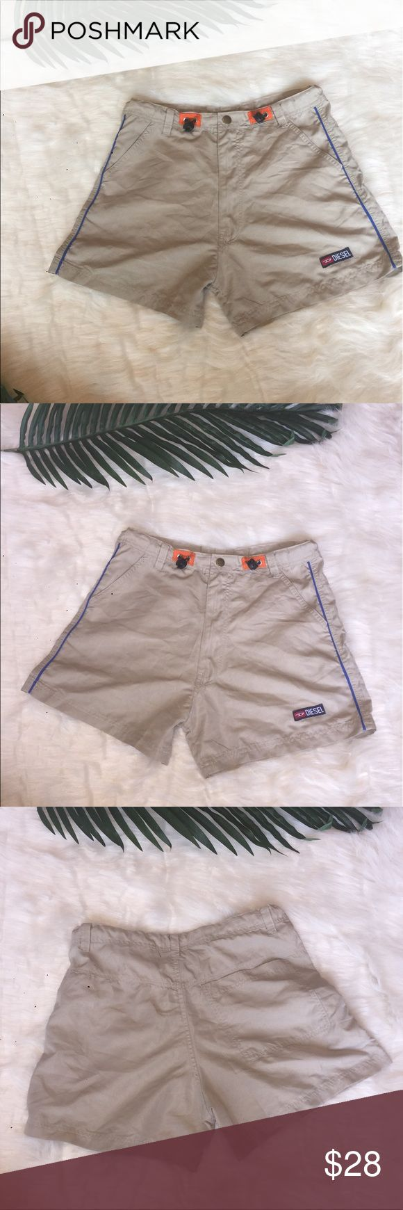 Diesel tan shorts Khaki color Diesel shorts. Adjustable waist. Size small. These are board short type material. Diesel Shorts