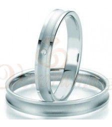 Βέρες γάμου λευκόχρυσες με διαμάντι breuning 7125-7126