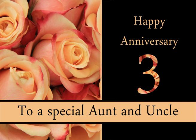 3rd Anniversary Aunt Uncle Multicolored Pink Roses Card Ad Affiliate Uncle Aun Wedding Anniversary Wishes Anniversary Wishes For Husband Anniversary