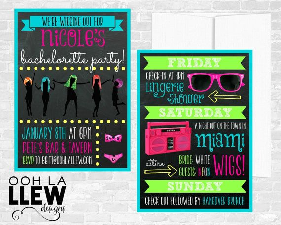Neon Wigging Out Black Out Bachelorette Party by OohLaLlew on Etsy