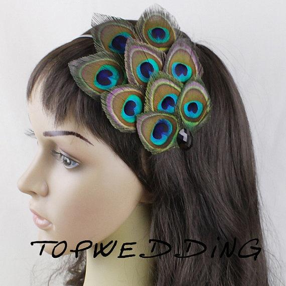 Peacock Feather Headband Natural Peacock Fascinator by TopWedding, $23.99
